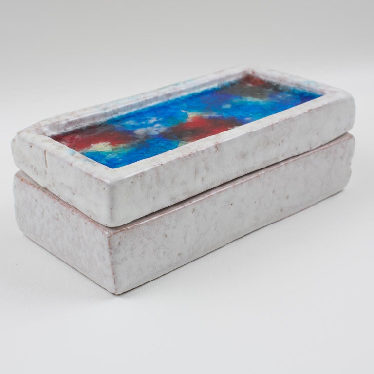 Bitossi Italy Raymor Ceramic Box Fritte Fused Glass Mosaic MCM Colors For Sale 2