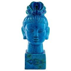 Bitossi Kwan Yin Buddha Coin Bank, Ceramic, Blue, Green Paisley, Signed
