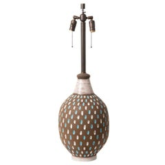 Bitossi Lamp, Ceramic, Brown, White, Blue Signed