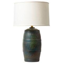 Bitossi Lamp, Ceramic, Green, Blue Turquoise, Signed