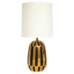 Bitossi Lamp, Ceramic Stripes Gold Black Signed