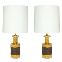 Bitossi Lamps, Ceramic, Gold and Matte Brown