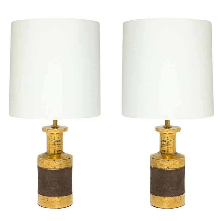 Bitossi Lamps, Ceramic, Gold and Matte Brown For Sale