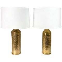 Bitossi Lamps Gold, Italy, 1970