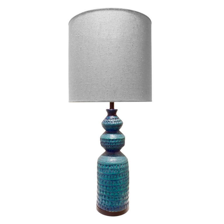 Bitossi Large Textural Blue Studio Made Ceramic Table Lamp, 1950s
