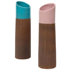 Bitossi Lipstick Vases, Ceramic, Ribbed, Pink and Blue, Signed