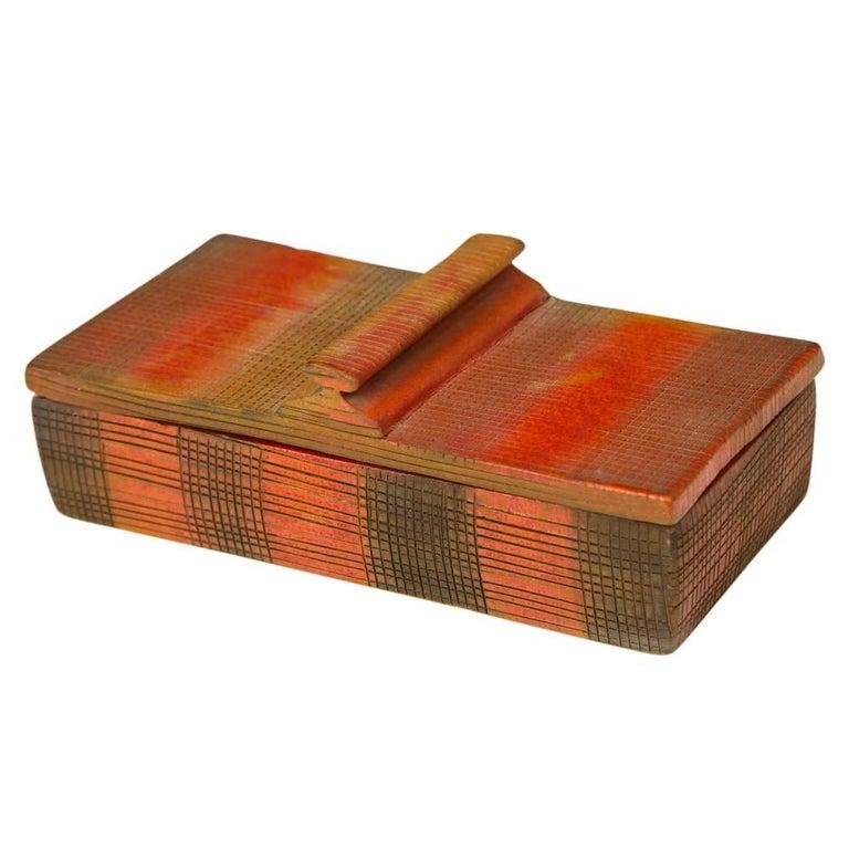 Bitossi Londi Ceramic Lidded Box Red Orange Black Sgraffito Signed Italy, 1960s