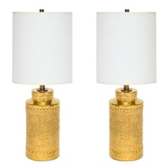 Bitossi Lamps, Gold Ceramic, Signed