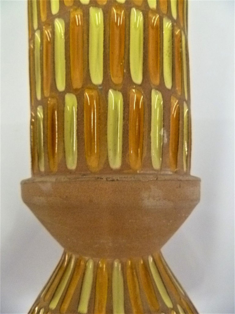 Ceramic Bitossi Midcentury Italian Tall Footed Vessel for Raymor by Aldo Londi, 1960s For Sale