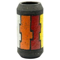 Bitossi Mondrian Series Cylinder Vase Italy Aldo Londi
