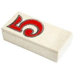 Bitossi Number 5 Box, Ceramic, Red, White, Signed