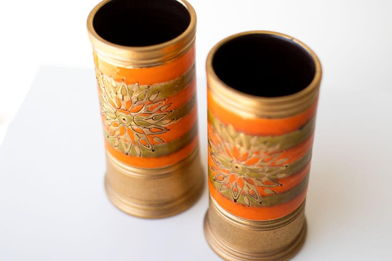 Mid-Century Modern Bitossi Orange and Gold Vases for Rosenthal Netter For Sale