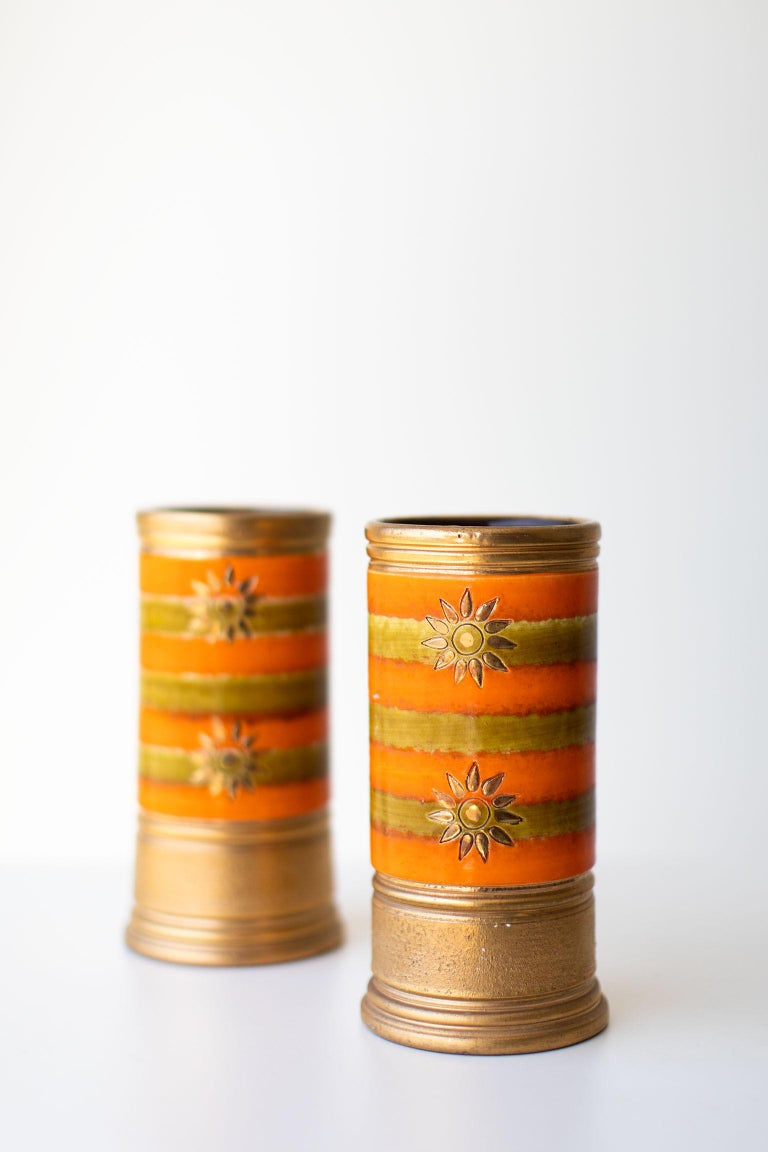 Italian Bitossi Orange and Gold Vases for Rosenthal Netter For Sale