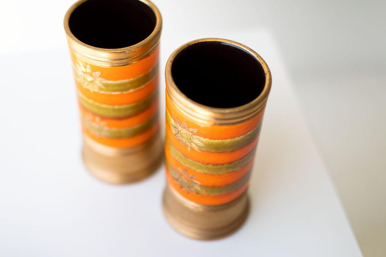 Bitossi Orange and Gold Vases for Rosenthal Netter In Good Condition For Sale In Oak Harbor, OH