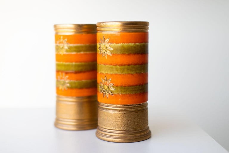 Mid-20th Century Bitossi Orange and Gold Vases for Rosenthal Netter For Sale