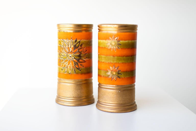 Bitossi Orange and Gold Vases for Rosenthal Netter For Sale 1