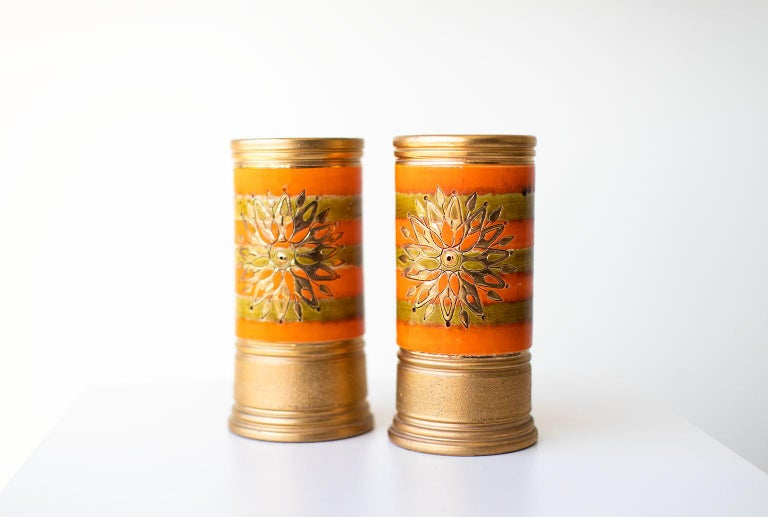 Bitossi Orange and Gold Vases for Rosenthal Netter For Sale 2