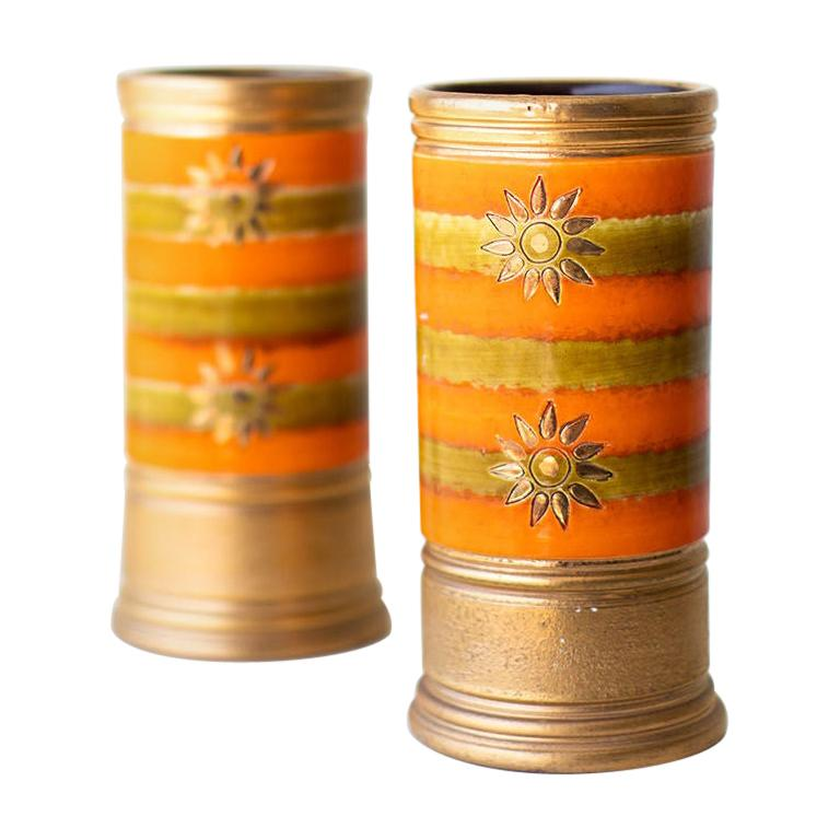 Bitossi Orange and Gold Vases for Rosenthal Netter For Sale