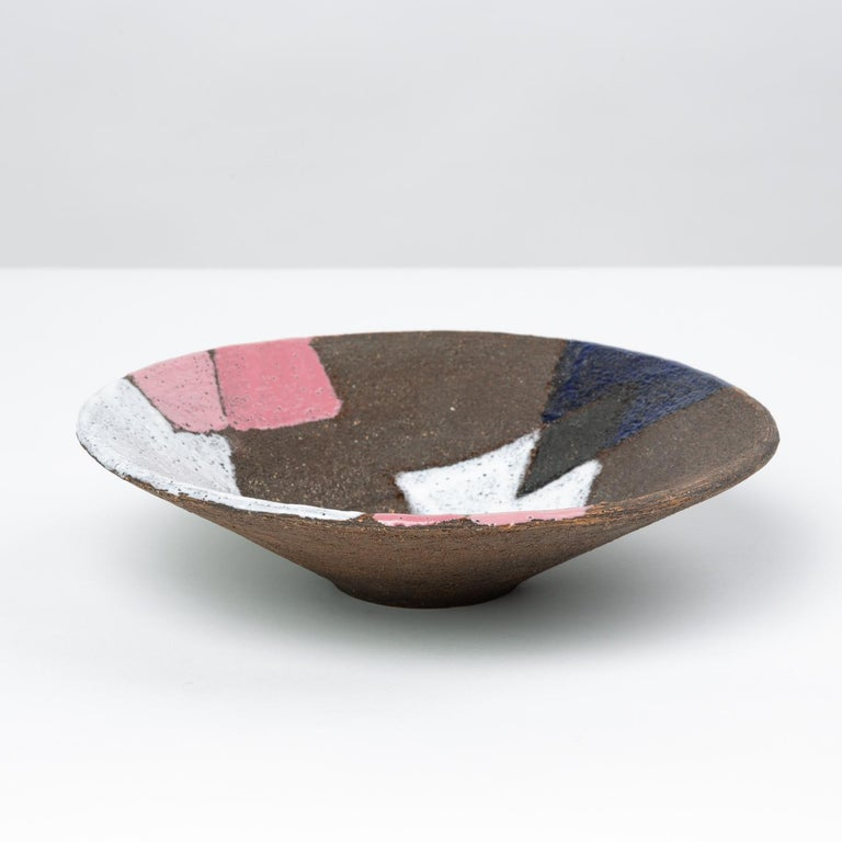 Bitossi Patchwork Glazed Stoneware Bowl In Good Condition For Sale In Los Angeles, CA
