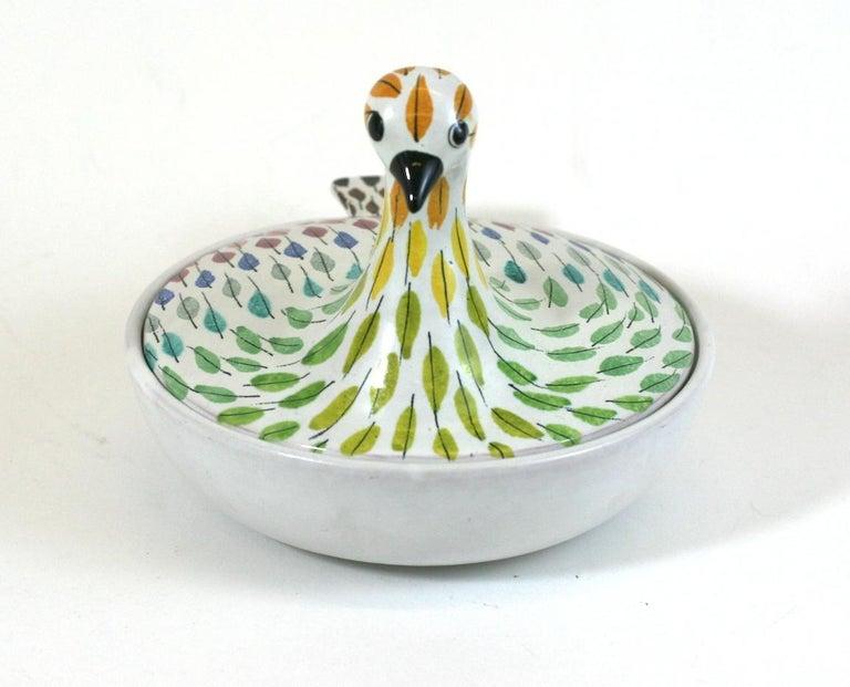 Mid-Century Modern Bitossi Piume Covered Bird Dish, Aldo Londi For Sale