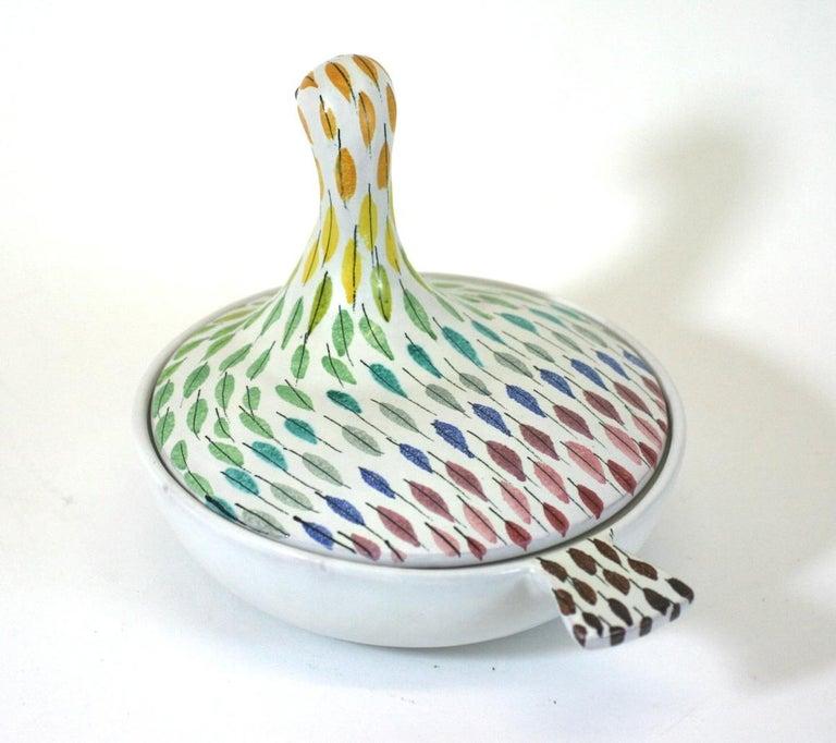 Italian Bitossi Piume Covered Bird Dish, Aldo Londi For Sale