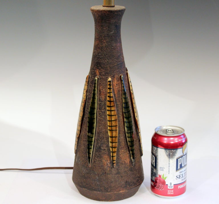 Bitossi lamp with applied strips on an unglazed ground, circa 1960's. 26 1/2