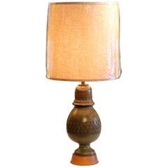 Bitossi Pottery Londi Vase Italian Raymor Olive Green Ceramic 1960s Lamp
