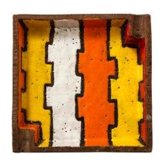 Bitossi Raymor Ashtray Bowl, Ceramic, Abstract Orange Yellow, Signed