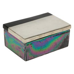 Bitossi Raymor Box, Ceramic, Metallic Chrome Silver, Black, Iridescent, Signed