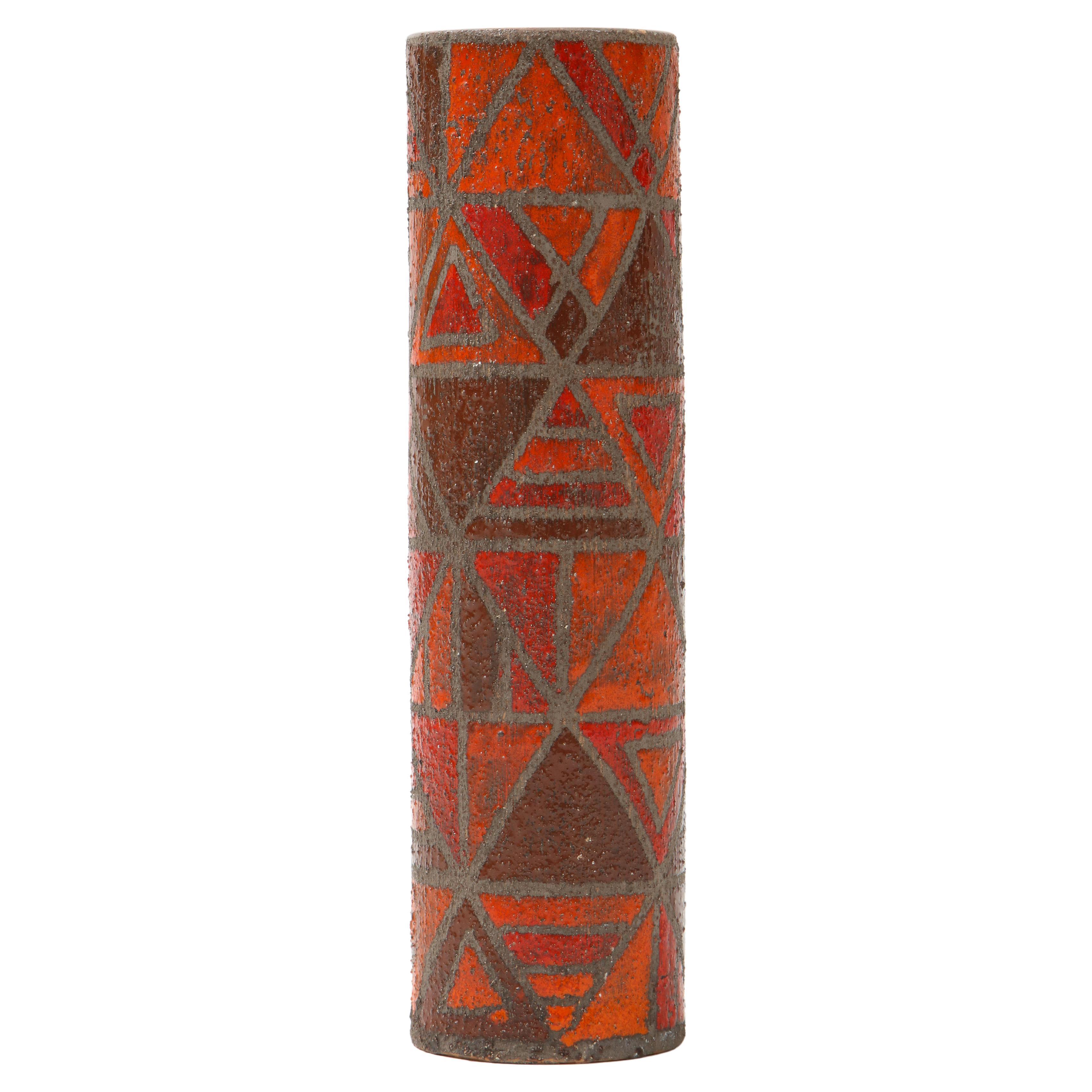 Bitossi, Raymor Burnt Orange Vase, Signed
