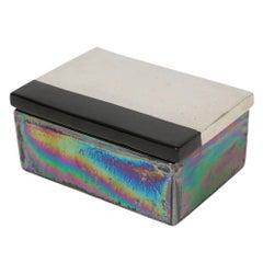 Bitossi Raymor Ceramic Box Iridescent Metallic Silver Black Signed Italy, 1960s