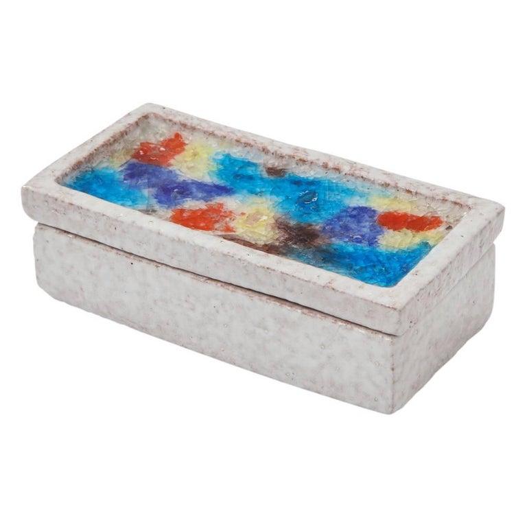 Bitossi Raymor Ceramic Box White Fused Glass Mosaic Lidded Signed Italy, 1960s