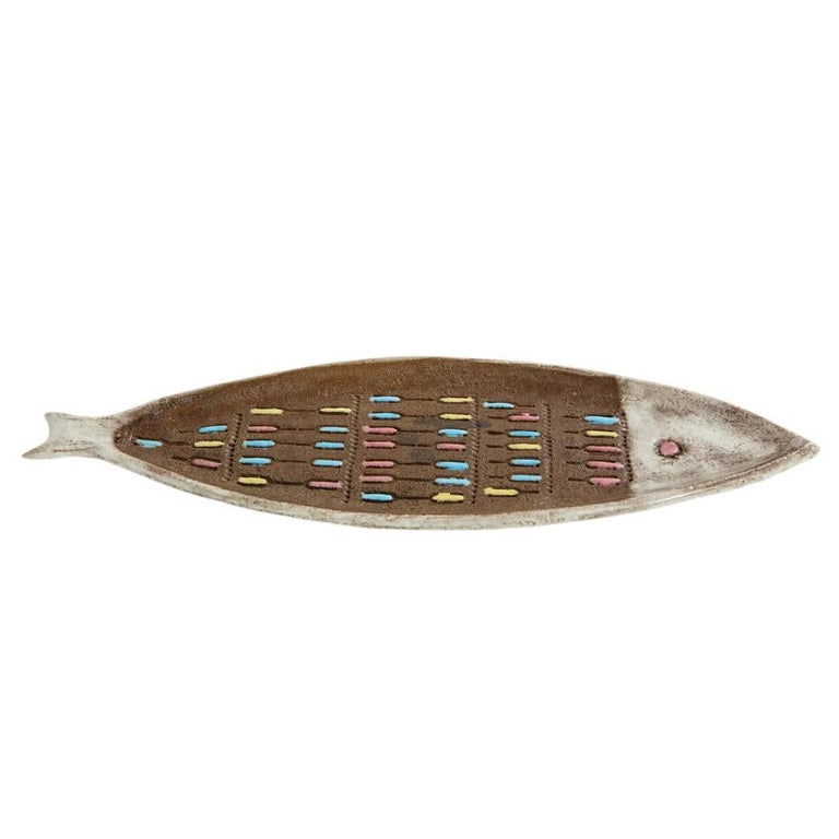 Mid-20th Century Bitossi for Raymor Fish Tray, Ceramic, Brown and White, Signed For Sale
