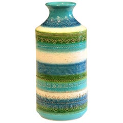 Bitossi Raymor Rimini Turquoise Decor Vase Italian Pottery Ceramic MCM