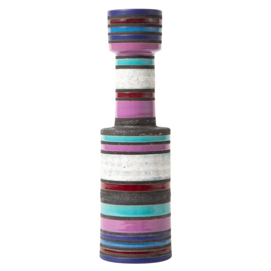 Bitossi Raymor Vase, Ceramic, Stripes, Purple, White, Turquoise, Signed