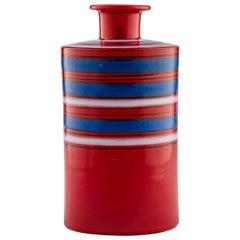 Bitossi Raymor Vase, Ceramic, Stripes, Red, Blue, White, Signed