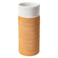 Bitossi Raymor Vase, Ceramic, White, Impressed Terracotta, Honeycomb, Signed