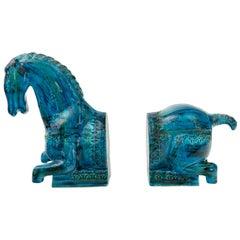 Bitossi 'Rimini Blu' Horse Bookends by Aldo Londi, Italy, 1960s