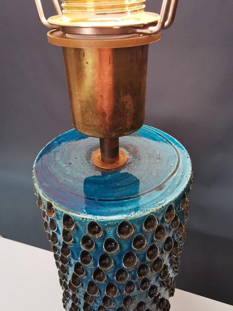 A rare Bitossi Studio ceramic table-lamp with brass moutings.