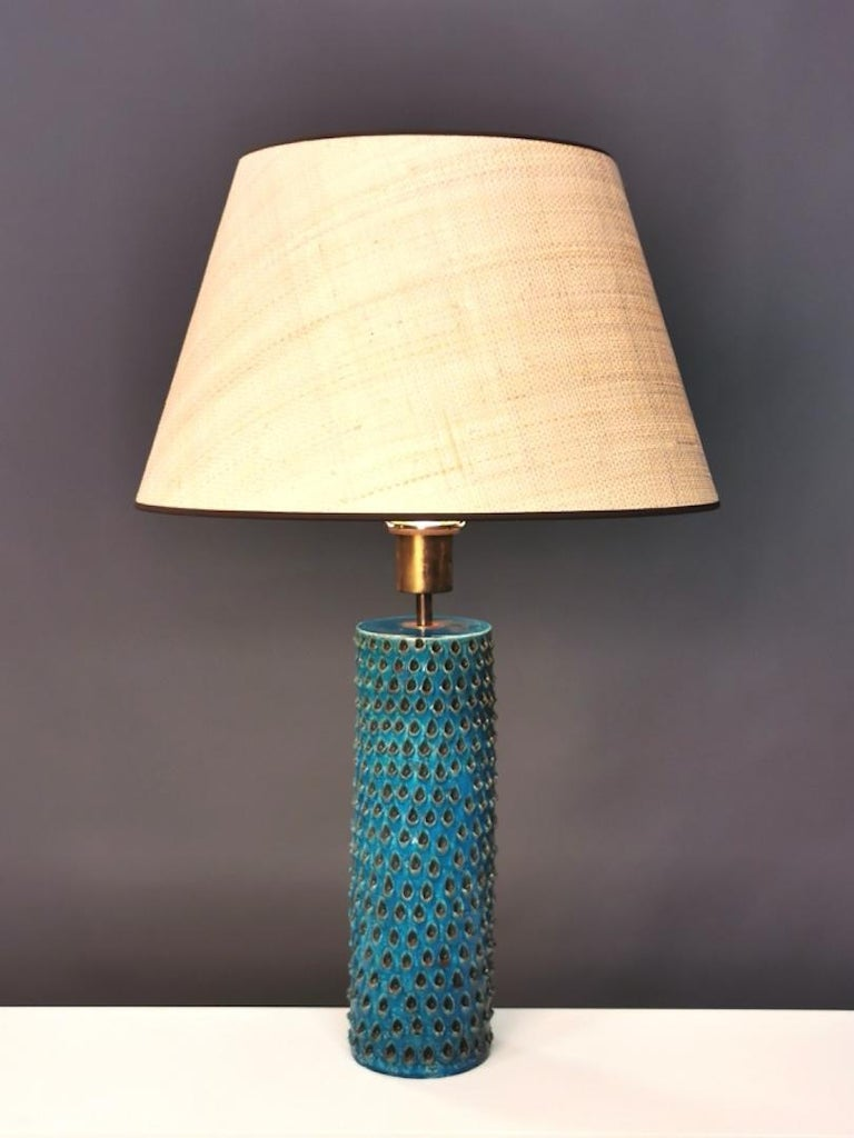 Italian Bitossi, Rimini Blue Glazed Ceramic Table Lamp, Italy, 1960s For Sale