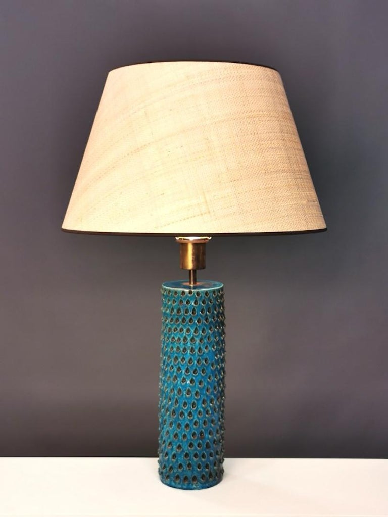 Bitossi, Rimini Blue Glazed Ceramic Table Lamp, Italy, 1960s In Good Condition For Sale In , DE