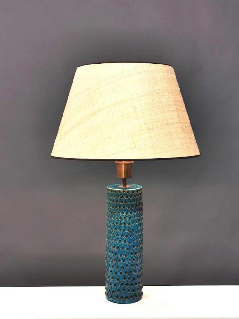 Mid-20th Century Bitossi, Rimini Blue Glazed Ceramic Table Lamp, Italy, 1960s For Sale