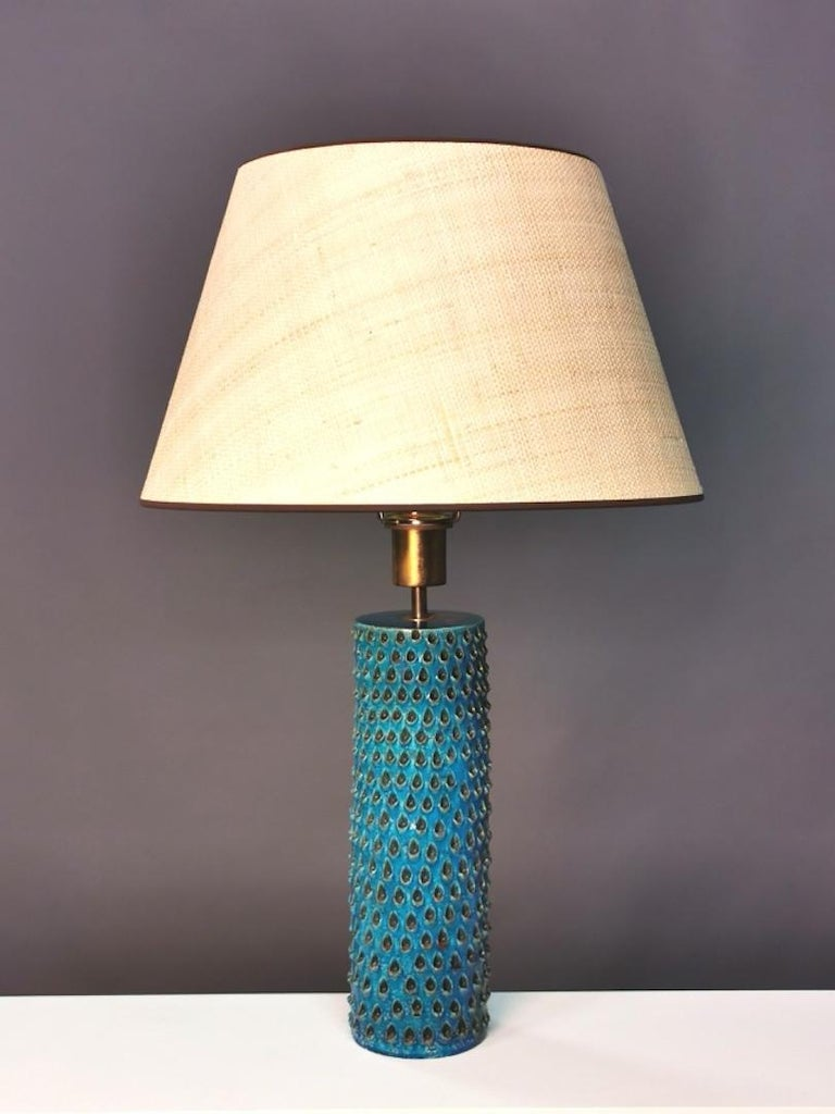 Bitossi, Rimini Blue Glazed Ceramic Table Lamp, Italy, 1960s For Sale 1