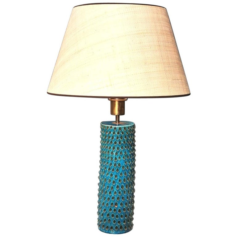 Bitossi, Rimini Blue Glazed Ceramic Table Lamp, Italy, 1960s For Sale