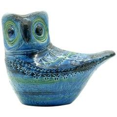 Bitossi 'Rimini Blue' Owl, Aldo Londi, Italy, circa 1965