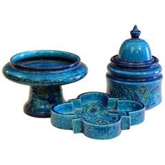 Bitossi Rimini Blue Pottery Londi Vase Italian Raymor Ceramic Jar Compote Set