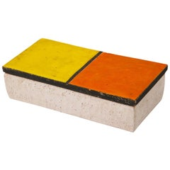 Bitossi Rosenthal Netter Box, Ceramic, Mondrian Orange Yellow, Signed