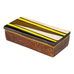 Bitossi Rosenthal Netter Box, Ceramic Yellow and Black Geometric, Signed