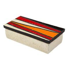 Bitossi Rosenthal Netter Ceramic Box Geometric Pottery Signed Italy 1960s