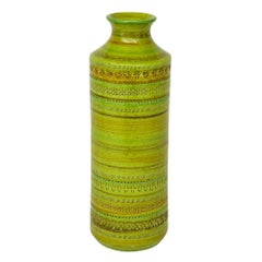 Bitossi Rosenthal Netter Vase, Ceramic Chartreuse, Signed
